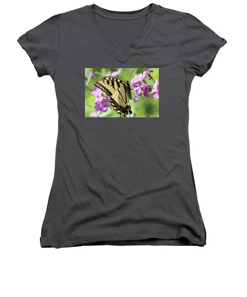 Yellow Butterfly Women's V-Neck T-Shirt