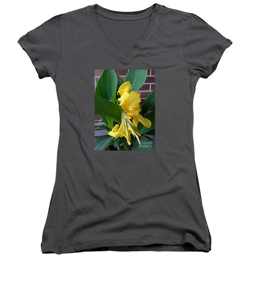 Yellow Canna Women's V-Neck (Athletic Fit)