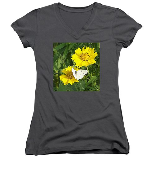 Women's V-Neck featuring the digital art Yellow Cow Pen Daisies by Shelli Fitzpatrick