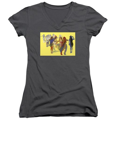Yellow Dance Women's V-Neck T-Shirt (Junior Cut)
