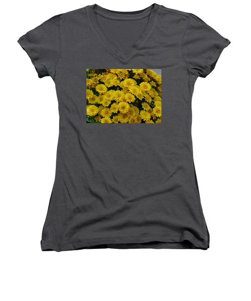 Yellow Fall Women's V-Neck T-Shirt (Junior Cut) by Shirley Heyn