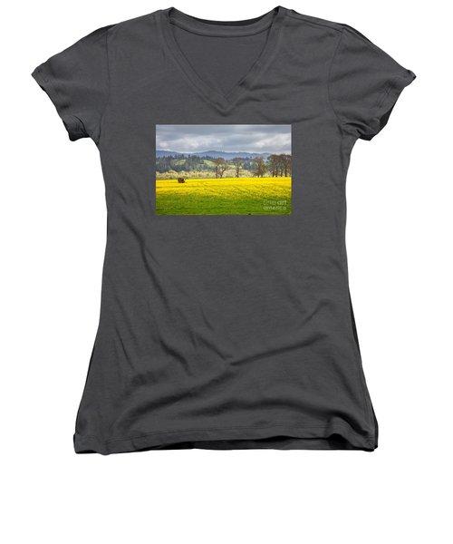 Yellow Fields Along The Eel River Women's V-Neck T-Shirt (Junior Cut) by Mark Alder