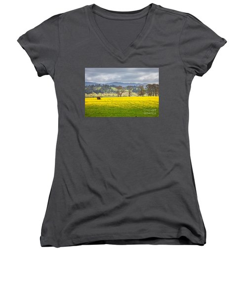 Yellow Fields Along The Eel River Women's V-Neck (Athletic Fit)