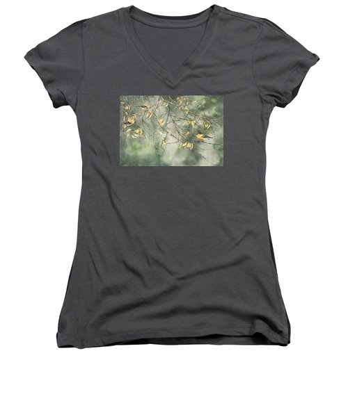 Yellow Finch Women's V-Neck (Athletic Fit)