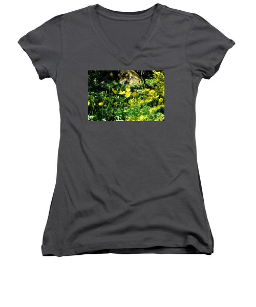 Women's V-Neck T-Shirt (Junior Cut) featuring the photograph Yellow Flowers Bathing In The Sun by Tanya Searcy