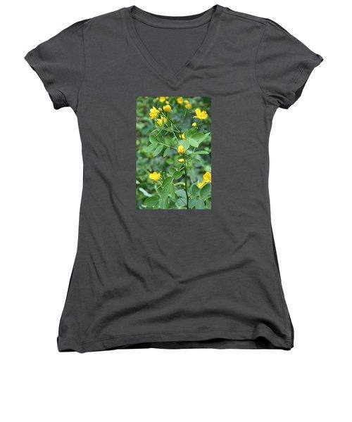 Women's V-Neck T-Shirt (Junior Cut) featuring the photograph Yellow Flowers by Karen Nicholson