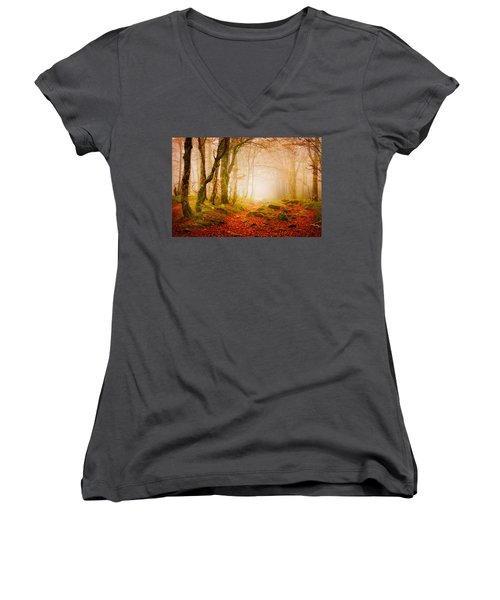 Yellow Forest Mist Women's V-Neck (Athletic Fit)