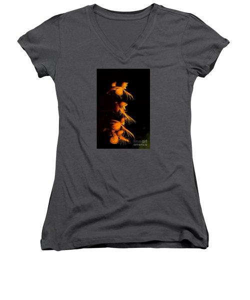 Yellow-fringe Orchid Women's V-Neck T-Shirt