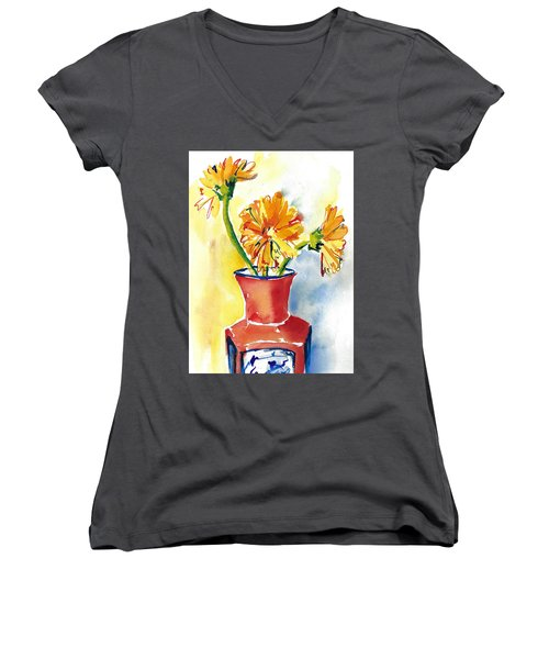 Yellow Gerbera Daisies In A Red And Blue Delft Vase Women's V-Neck (Athletic Fit)