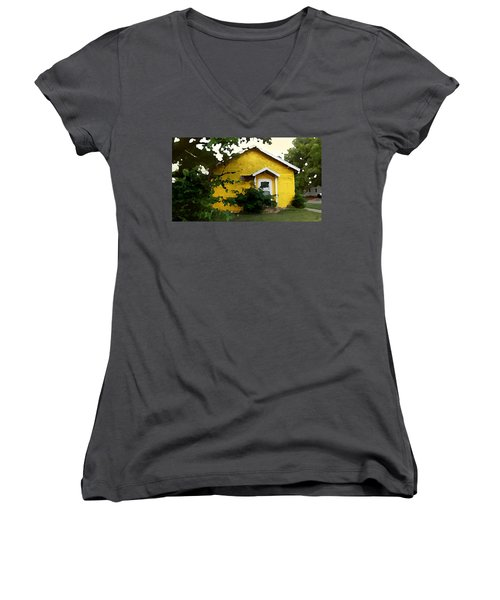 Women's V-Neck featuring the digital art Yellow House In Shantytown  by Shelli Fitzpatrick