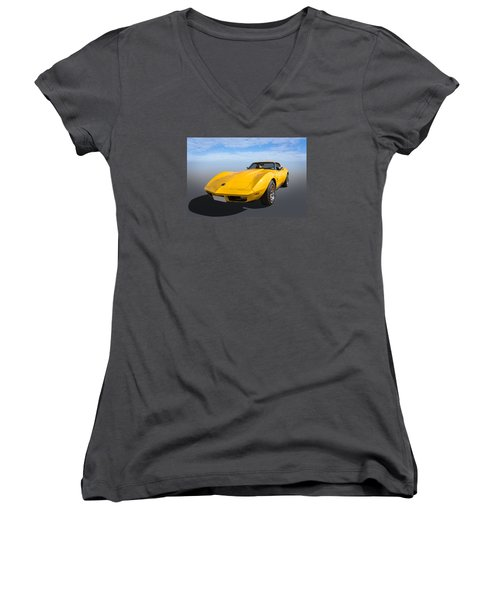Women's V-Neck T-Shirt (Junior Cut) featuring the photograph Yellow by Keith Hawley