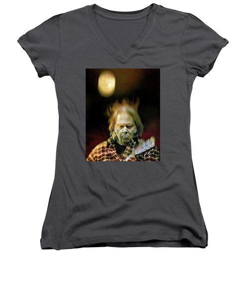 Yellow Moon On The Rise Women's V-Neck T-Shirt (Junior Cut) by Mal Bray