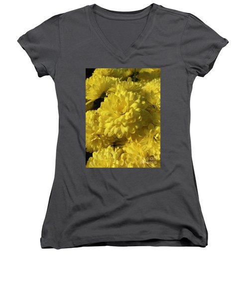 Yellow Mums Women's V-Neck