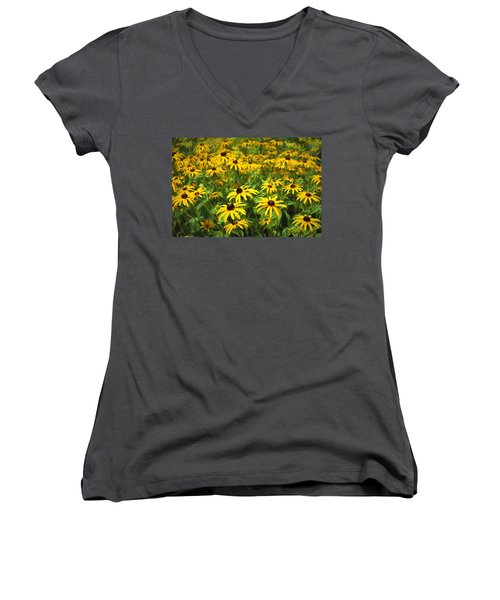 Yellow Painted Petals Women's V-Neck T-Shirt