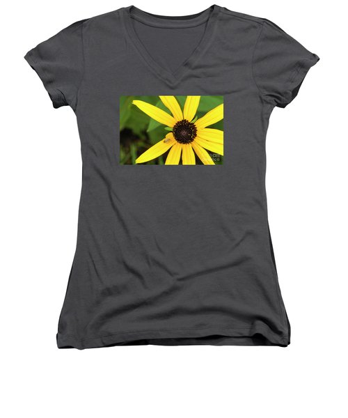 Yellow Petaled Flower With Bug Women's V-Neck
