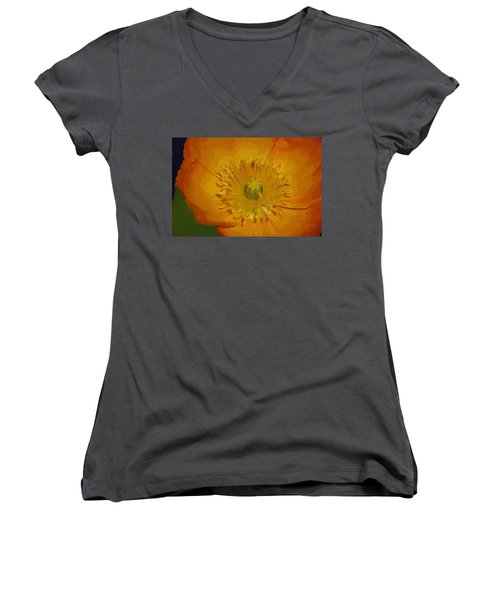 Women's V-Neck T-Shirt (Junior Cut) featuring the photograph Yellow Poppy by Donna Bentley
