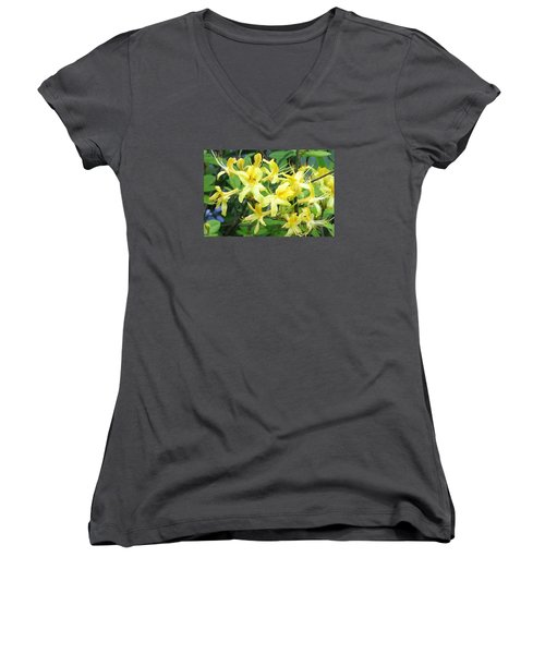 Yellow Rhododendron Women's V-Neck T-Shirt (Junior Cut) by Carla Parris