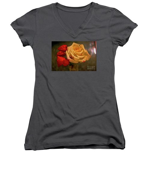 Women's V-Neck T-Shirt (Junior Cut) featuring the photograph Yellow Rose And Chinese Lanterns by Diana Mary Sharpton