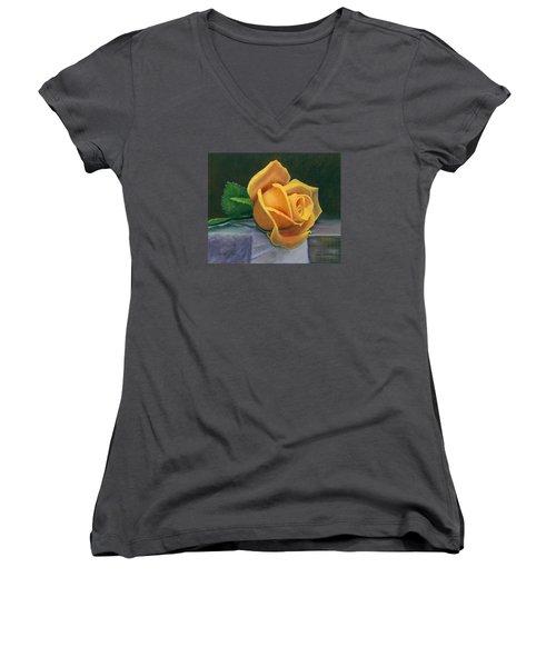 Yellow Rose Women's V-Neck T-Shirt (Junior Cut) by Janet King