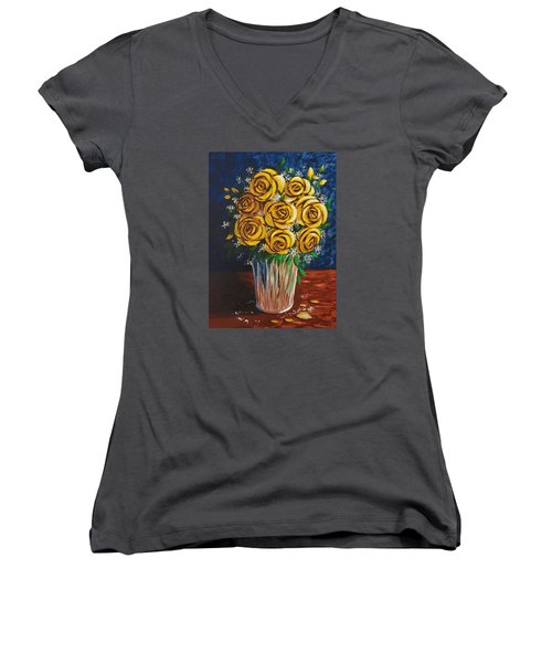 Women's V-Neck T-Shirt (Junior Cut) featuring the painting Yellow Roses by Katherine Young-Beck