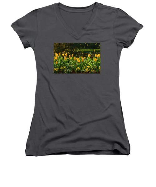 Yellow Spring Fever Women's V-Neck (Athletic Fit)