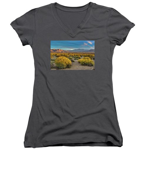 Women's V-Neck T-Shirt (Junior Cut) featuring the photograph Yellow Sunrise by Peter Tellone