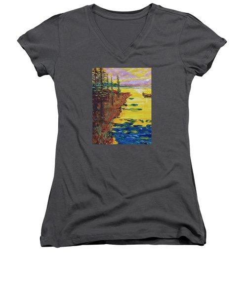 Yellow Sunset Women's V-Neck T-Shirt (Junior Cut) by Mike Caitham