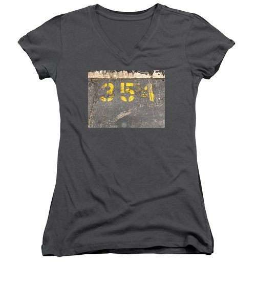 Yellow Three Five Five Four Women's V-Neck T-Shirt (Junior Cut)