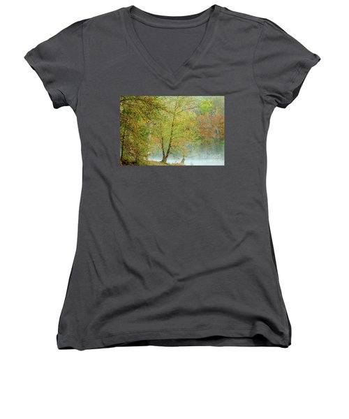 Women's V-Neck T-Shirt (Junior Cut) featuring the photograph Yellow Trees by Iris Greenwell