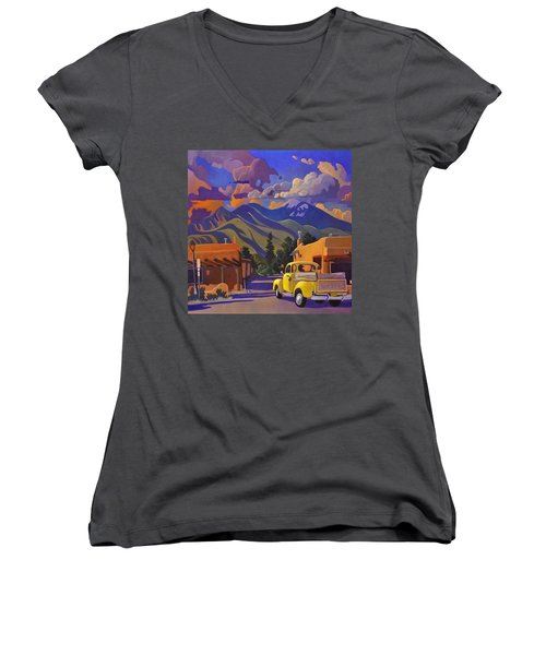 Yellow Truck Square Women's V-Neck (Athletic Fit)