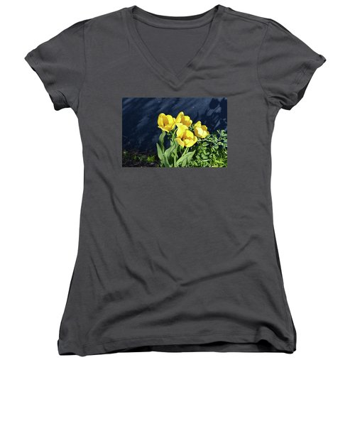 Women's V-Neck T-Shirt (Junior Cut) featuring the photograph Yellow Tulips by Kathleen Stephens
