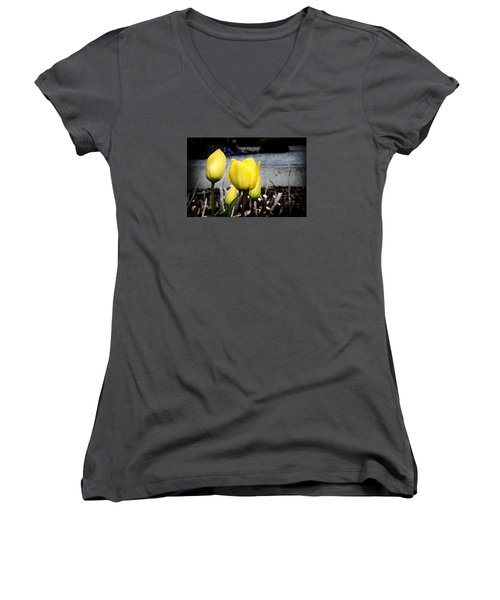 Yellow Tulips Women's V-Neck T-Shirt (Junior Cut) by Milena Ilieva