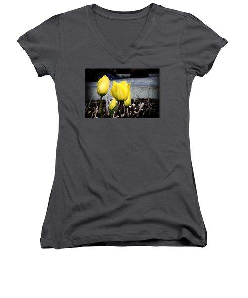 Yellow Tulips Women's V-Neck