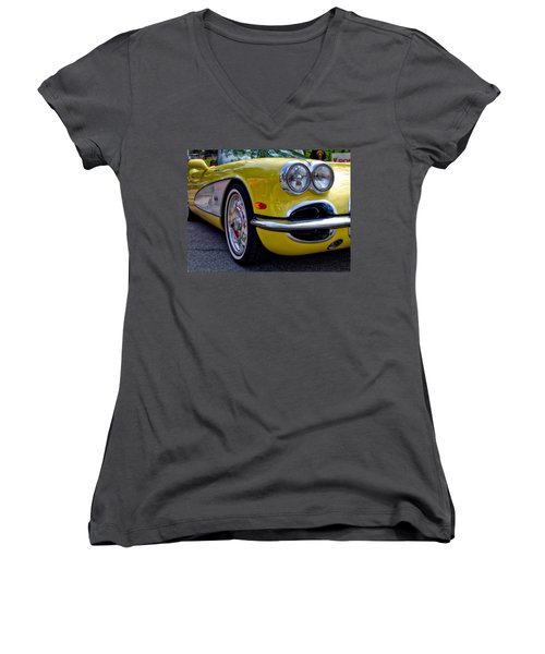 Yellow Vette Women's V-Neck
