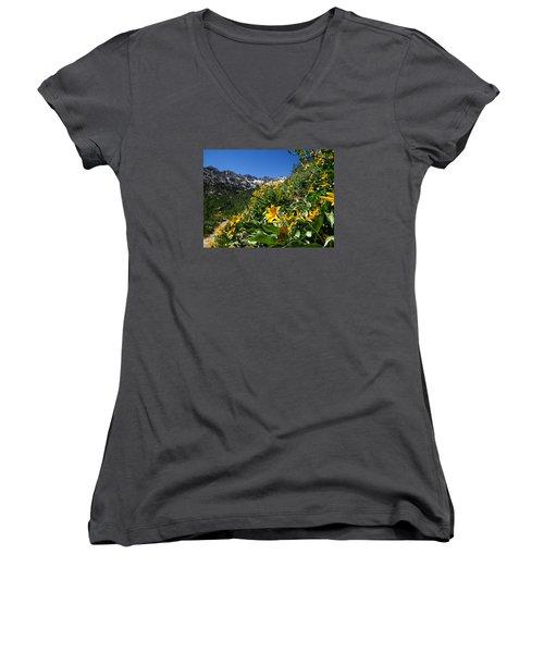 Yellow Wildflowers Women's V-Neck T-Shirt