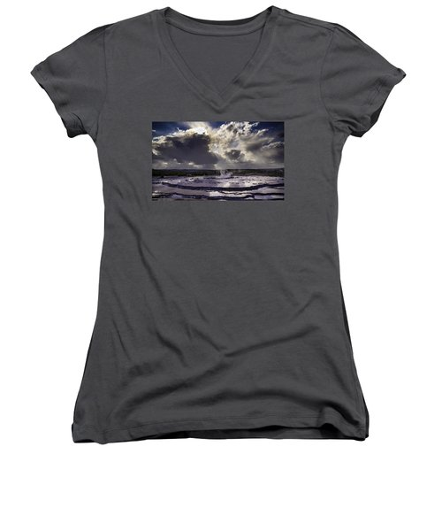 Yellowstone Geysers And Hot Springs Women's V-Neck (Athletic Fit)