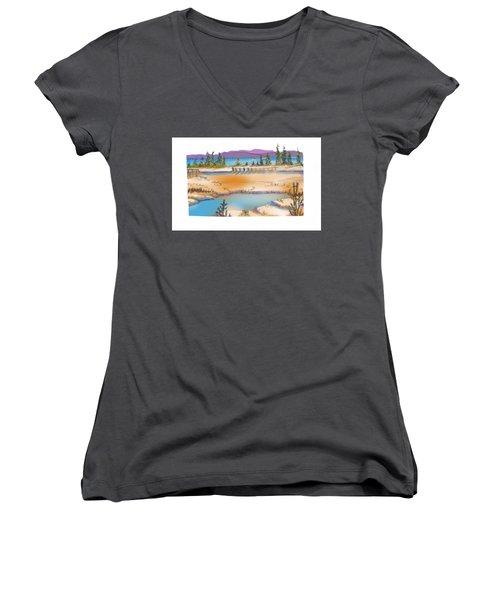 Yellowstone Women's V-Neck T-Shirt (Junior Cut) by Kathryn Launey