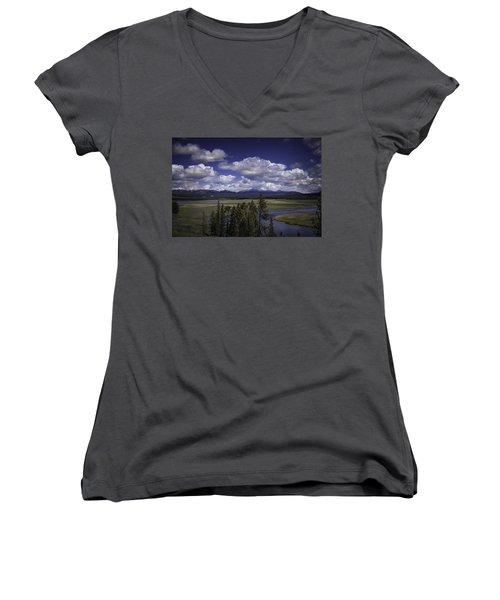 Yellowstone River Women's V-Neck T-Shirt (Junior Cut) by Jason Moynihan
