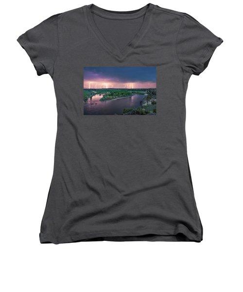 Yellowstone River Lightning Women's V-Neck (Athletic Fit)