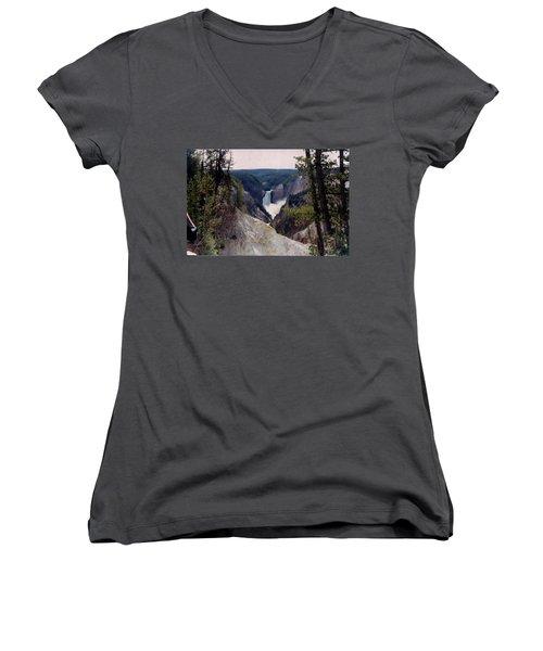 Yellowstone Water Fall Women's V-Neck