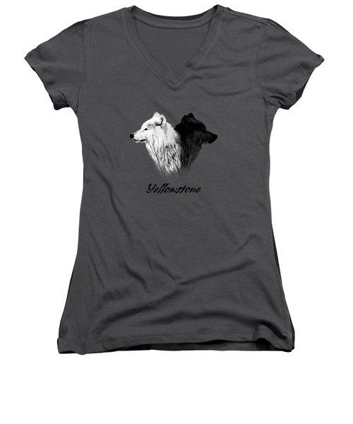 Yellowstone Wolves T-shirt Women's V-Neck T-Shirt (Junior Cut) by Max Waugh
