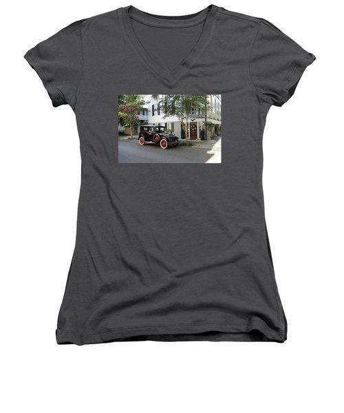 Yesteryear In Savanna Women's V-Neck T-Shirt (Junior Cut) by Lamarre Labadie
