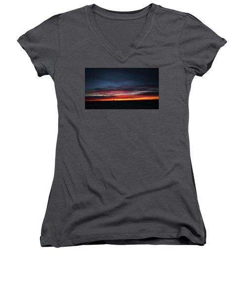 Women's V-Neck T-Shirt (Junior Cut) featuring the photograph Yorkton Sunrise by Ryan Crouse