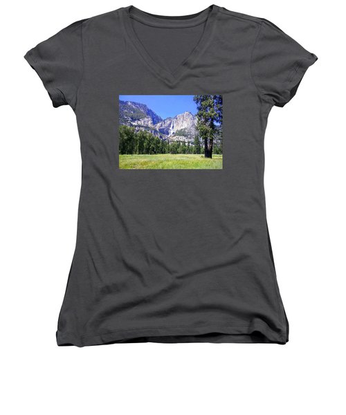 Yosemite Valley Waterfall Women's V-Neck