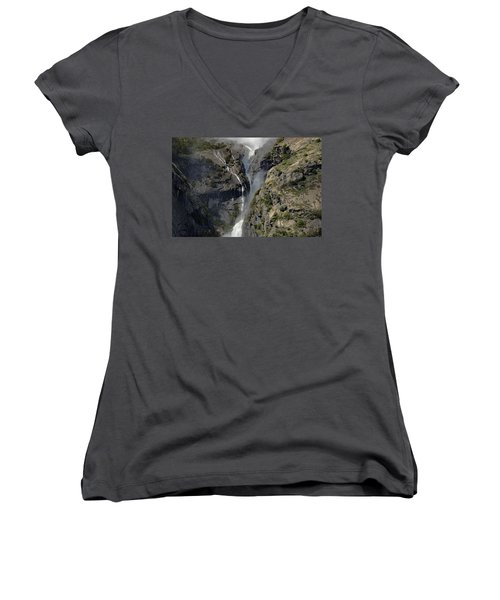 Yosemite Falls From The Four Mile Trail Women's V-Neck T-Shirt