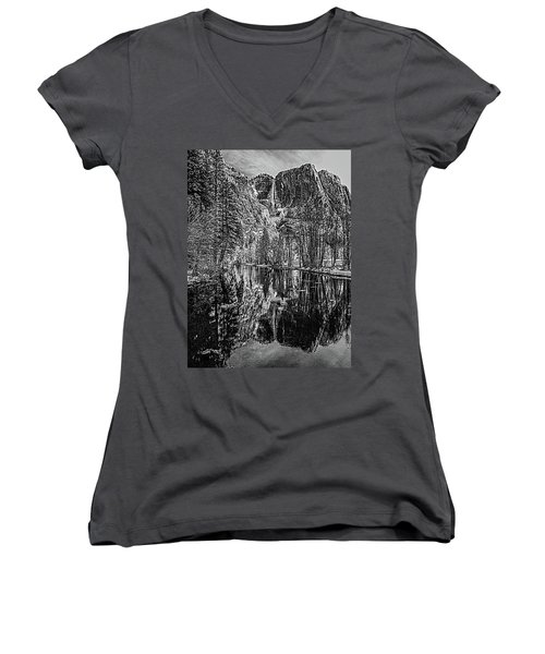 Women's V-Neck T-Shirt (Junior Cut) featuring the photograph Yosemite Falls From The Swinging Bridge In Black And White by Bill Gallagher