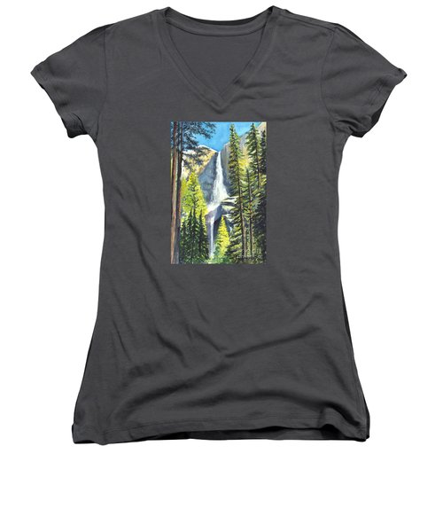 Yosemite Falls Watercolor Painting Women's V-Neck T-Shirt (Junior Cut) by Carol Wisniewski