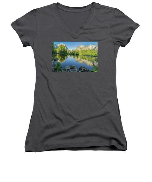 Women's V-Neck T-Shirt (Junior Cut) featuring the photograph Yosemite by RC Pics