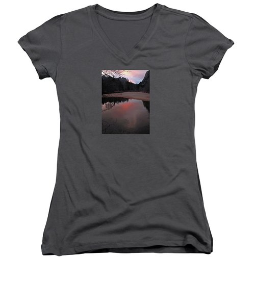 Women's V-Neck T-Shirt featuring the photograph Yosemite Reflections 01 2015 by Walter Fahmy