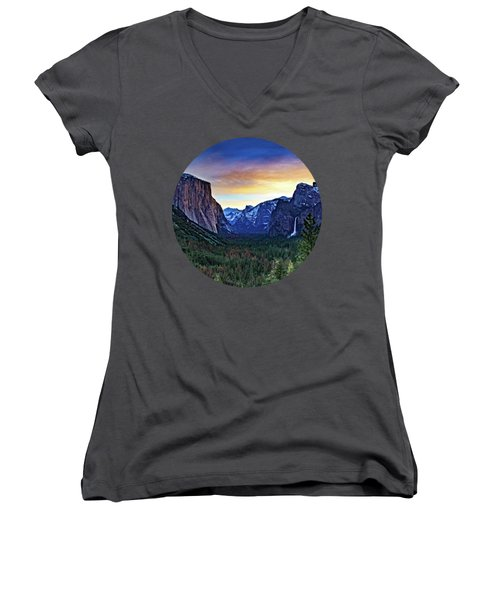 Yosemite Sunrise Women's V-Neck T-Shirt (Junior Cut) by Adam Morsa